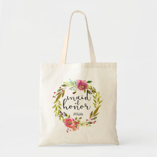 Floral Wreath Maid of Honor Tote Bag