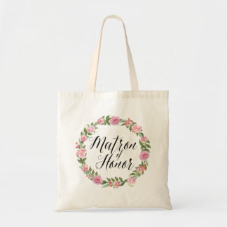 Floral Wreath Matron of Honor Tote Bag