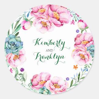floral wreath modern watercolor wedding round sticker