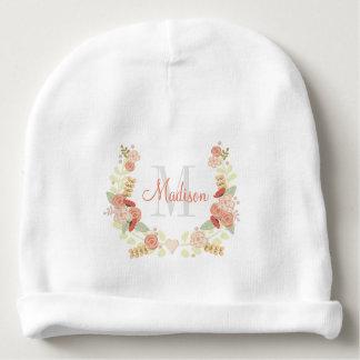 Floral Wreath Monogram Baby Beanie