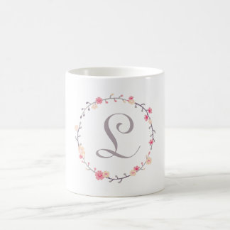 Floral Wreath Monogram Basic White Mug
