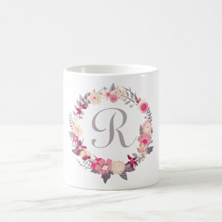 Floral Wreath Monogram Basic White Mug