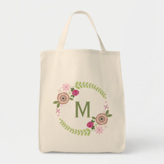 Floral Wreath Monogram Grocery Tote Grocery Tote Bag