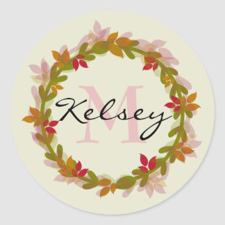 Floral Wreath Monogram Classic Round Sticker