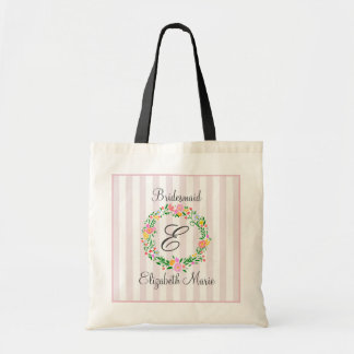 Floral Wreath Monogrammed Bridesmaid Gift Tote Bag