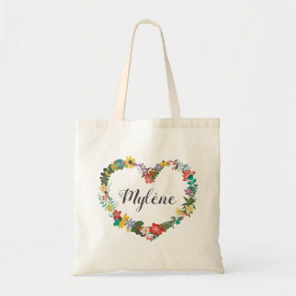 Floral Wreath Name Tote - Stella