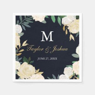 Floral Wreath Navy Monogram Wedding Napkin Disposable Serviettes