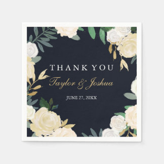 Floral Wreath Navy Thank You Wedding Napkin Disposable Napkins