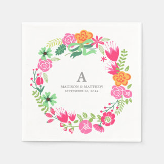 Floral Wreath | Personalized Paper Napkins