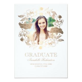 Floral Wreath Photo Frame Graduation Card