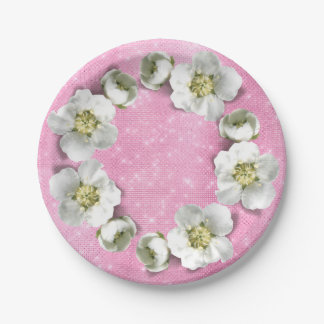 Floral Wreath Pink Rose Sparkly Metallic Glam Paper Plate