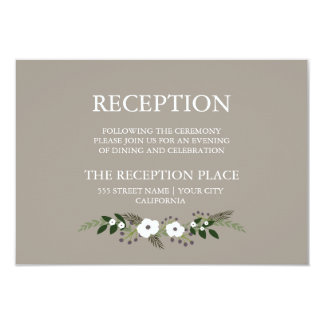 Floral Wreath Reception Card - taupe