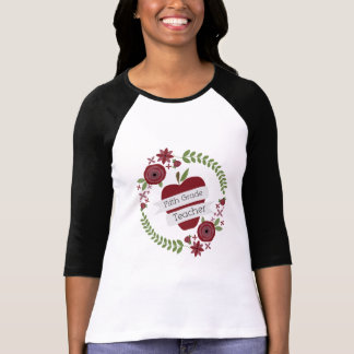 Floral Wreath Red Apple Fifth Grade Teacher Tees