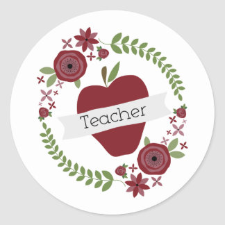 Floral Wreath & Red Apple Teacher Classic Round Sticker