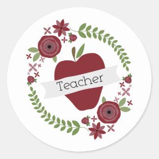Floral Wreath & Red Apple Teacher Round Sticker
