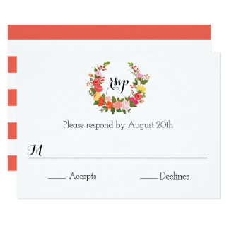Floral Wreath - RSVP Card