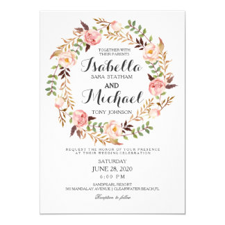 Floral Wreath Rustic Wedding Invitation