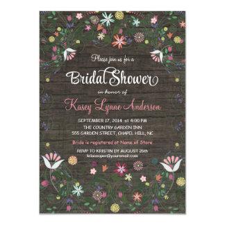 Floral Wreath Rustic Wood Bridal Shower Invitation