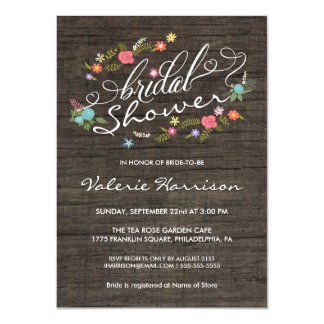 Floral Wreath Rustic Wood Bridal Shower Invites