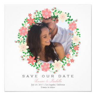 Floral Wreath | Save The Date Announcement