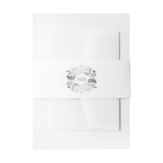 Floral Wreath Silver and White Elegant Wedding Invitation Belly Band