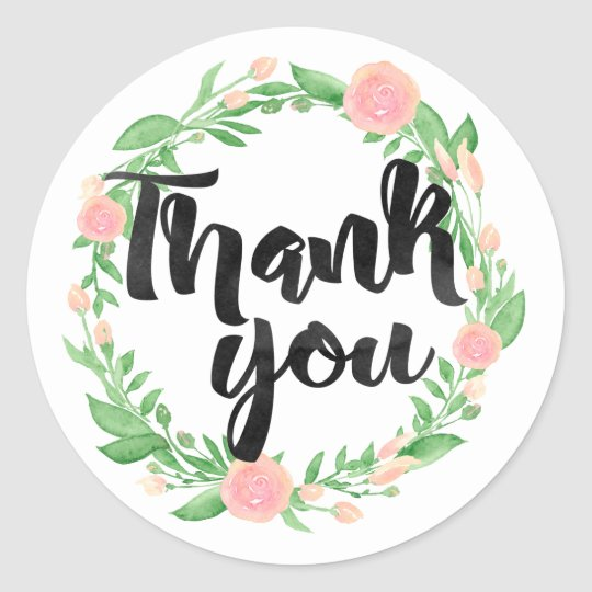 Floral Wreath Thank You Classic Round Sticker