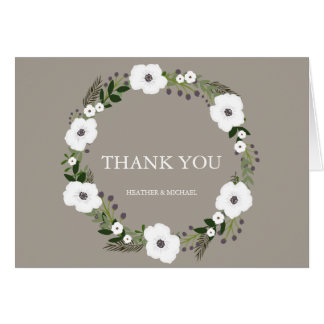 Floral Wreath Thank You Notes - taupe Note Card