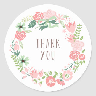 Floral Wreath | Thank You Stickers