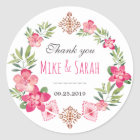 Floral Wreath Tribal Pattern Wedding Favour Classic Round Sticker