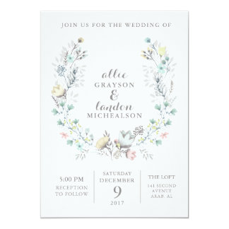 Floral Wreath Watercolor Wedding Invitation