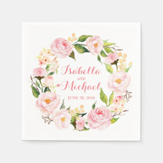 Floral Wreath Watercolor Wedding Paper Napkins