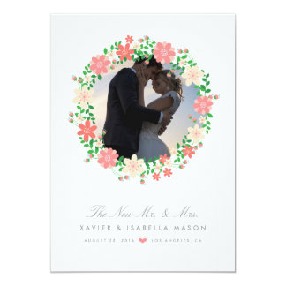 Floral Wreath Wedding Announcement