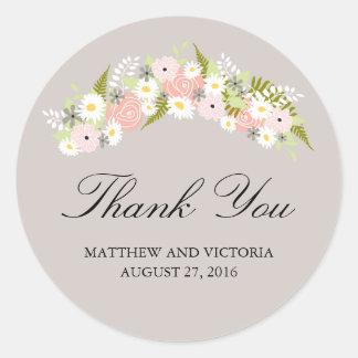 Floral Wreath Wedding Classic Round Sticker