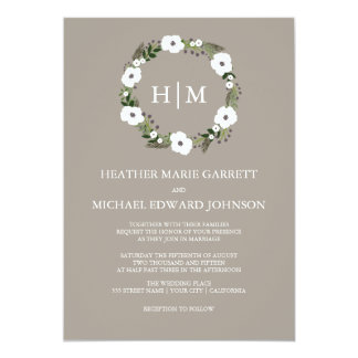 Floral wreath wedding invitation - taupe