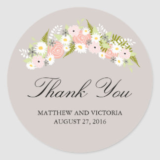 Floral Wreath Wedding Round Sticker
