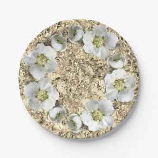 Floral Wreath White Gold Aluminium Creased Metall Paper Plate