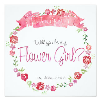 Floral Wreath Will You Be my Flower Girl Card