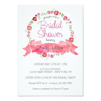 """Floral Wreath with Roses Bridal Shower Invitation 5"""" X 7"""" Invitation Card"""