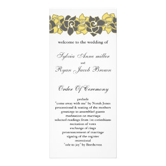 "floral ""yellow gray"" Wedding program Personalised Rack Card"