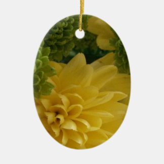Floral yellow/green ceramic oval decoration
