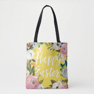 Floral Yellow Happy Easter Egg Hunt Tote Bag