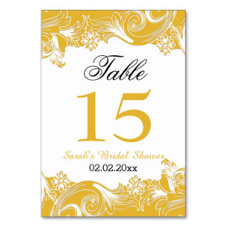Floral yellow Personalized table numbers