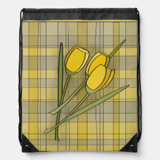 Floral Yellow Plaid Drawstring Backpack