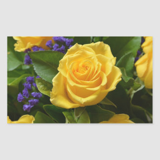 Floral Yellow Rose And Purple Flowers Rectangular Sticker