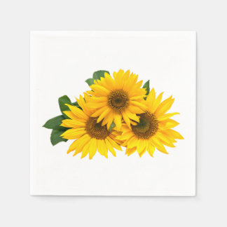 Floral Yellow Sunflower Country Wedding Flowers Disposable Napkins