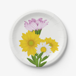 Floral Yellow Sunflower, Daisy Purple Flowers Paper Plate