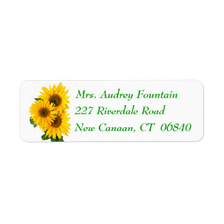 Floral Yellow Sunflower Green Flower Address Return Address Label
