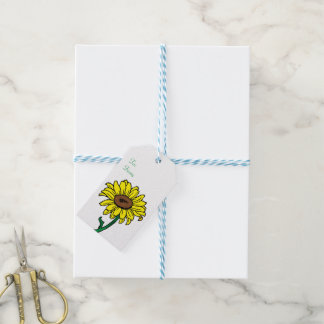 Floral  Yellow  Sunflower Green Wedding Flower Gift Tags