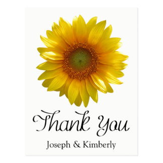 Floral Yellow Sunflower Thank You Flower Wedding Postcard