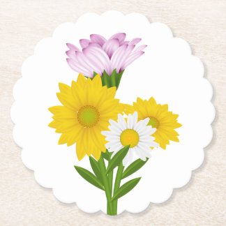Floral Yellow Sunflower, White Daisy Purple Flower Paper Coaster